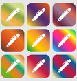 pen icon sign Nine buttons with bright gradients vector image vector image