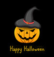 pumpkin with witch hat on head on black background vector image vector image