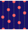 Red Flower Vine Dark Blue Background vector image vector image