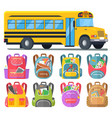 school bus and schoolbags with stationery or books vector image vector image