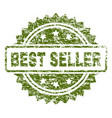 scratched textured best seller stamp seal vector image