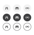 set 3 simple design binoculars icons rounded vector image