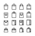set minimal shopping bag line icons vector image