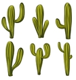 Set of cartoon cacti vector image