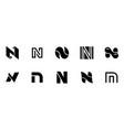 set of letter n logo vector image