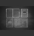 set of notebooks on blackboard vector image