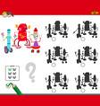 shadows game with happy robots vector image vector image
