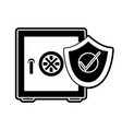 silhouette strong box object with shield security vector image vector image