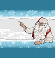 snowflake background with santa claus vector image vector image