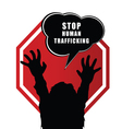 stop humain trafficking sign with child vector image vector image