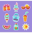 Summer Beach Holidays Stickers With Text vector image vector image