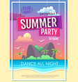 summer disco party poster with sea beach vector image vector image