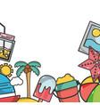 summer frame cartoon vector image