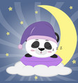 sweet panda in a violet hat for sleeping sleeping vector image