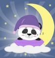 sweet panda in a violet hat for sleeping sleeping vector image vector image