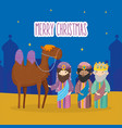 three wise kings and camel manger nativity merry vector image