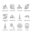 vacuum cleaners colored flat line icons different vector image