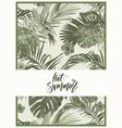 vintage monochrome pale plive tropical design with vector image vector image