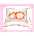 Wedding gold rings on satin pillow vector image vector image