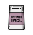 activated charcoal bag vintage icon vector image