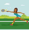 african american tennis girl on tennis court vector image