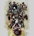 assassins creed all characters vector image