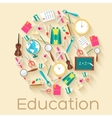 back to school circle flat icons concept de vector image vector image