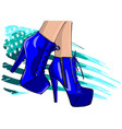 boots in woman legs ink vector image