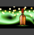 bottle with dew on polar glow background vector image vector image