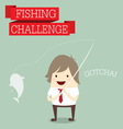 businessman relaxing and catching fish with words vector image vector image