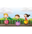 Cartoon Bouncing Kids vector image