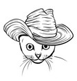 cat in a hat and tie white and black vector image vector image
