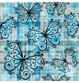 checkered pattern with blue butterflies vector image vector image