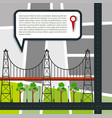 city road map with bridge and park vector image