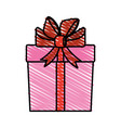 color crayon stripe cartoon giftbox with wrapping vector image