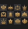 crown vintage premium golden logo badge heraldic vector image