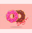 donut with pink glaze and chocolate vector image