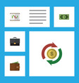 flat icon finance set of portfolio billfold vector image