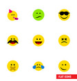 flat icon gesture set of cold sweat winking vector image vector image