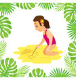 girl in swimsuit at beach drawing sailboat on sand vector image vector image
