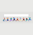 group people walking with flags crowd vector image vector image