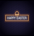 happy easter frame neon on black background vector image vector image