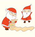 happy santa claus dacing and checking a list vector image