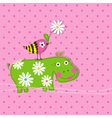 hippo scrapbook card template vector image vector image
