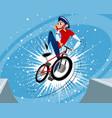jump funny biker vector image