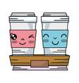 kawaii cute happy coffe plastic cup vector image vector image