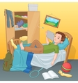 Lazy boy lying on bed with tablet vector image