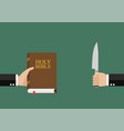 man hold holy bible and other man hold knife vector image