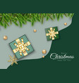 merry christmas green background design with gift vector image