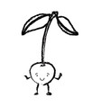 monochrome blurred silhouette of cherry caricature vector image vector image